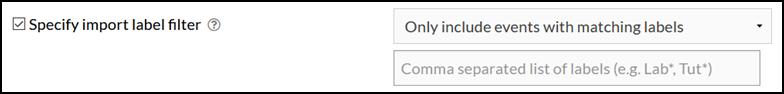 specify import label filter