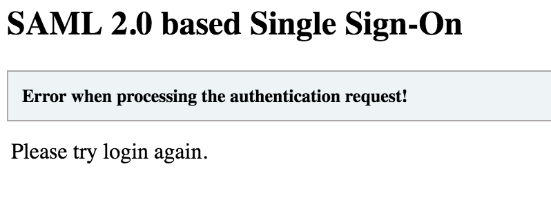 screenshot of the SAML 2.0 error that happens when logging into Murphy without MFA set up