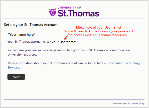 Screenshot of the fifth page of the account claim process where you are given your UST Username