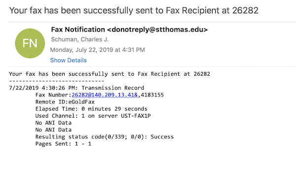 Example of a successful fax confirmation notification.