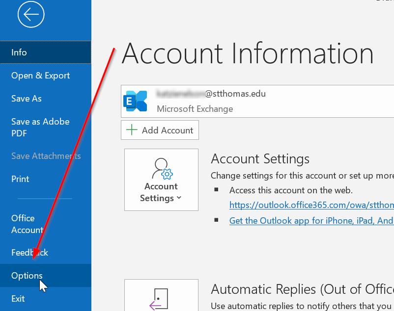 Outlook File menu options