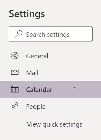 Outlook settings menu in Office 365