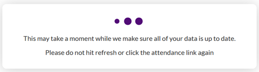 Canvas view after clicking on Attendance in left navigation