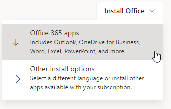 Instructions for how to download the suite of Microsoft Office tools