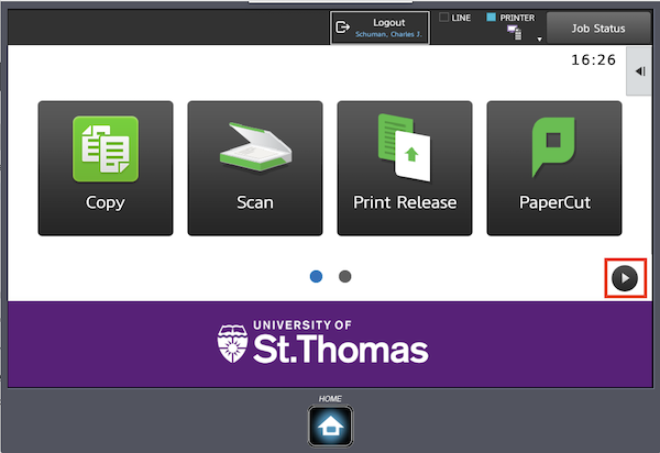 Image displaying the menu options after logging in to a printer.