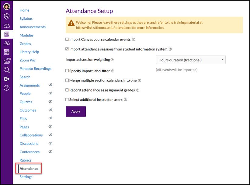 attendance setup screen