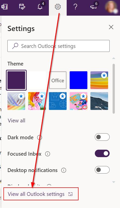 Office 365 settings menu