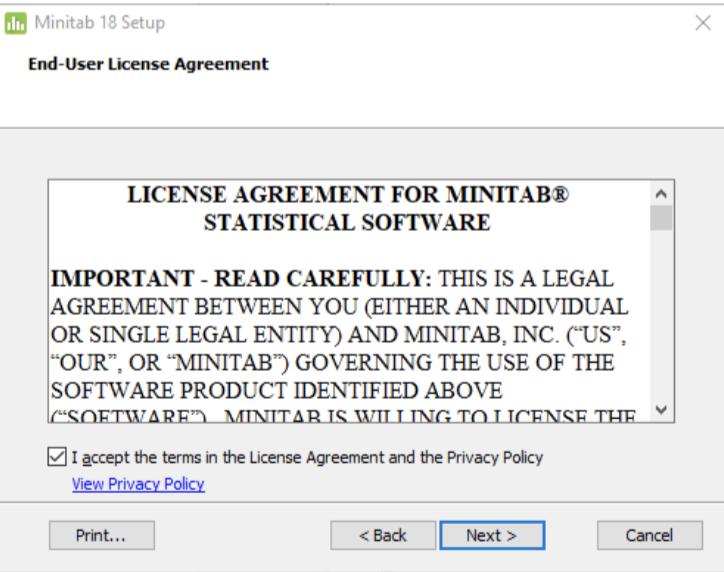 Minitab installation end user agreement screenshot
