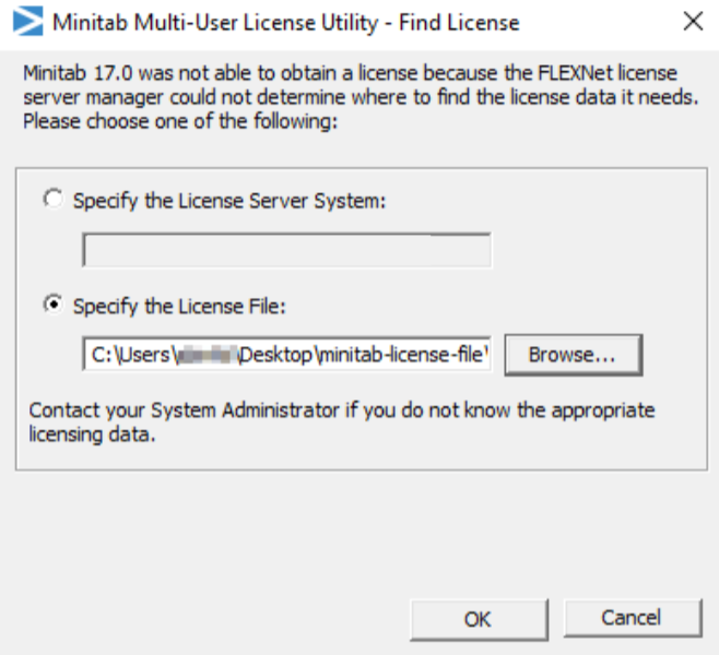 Menu for minitab activation by license file