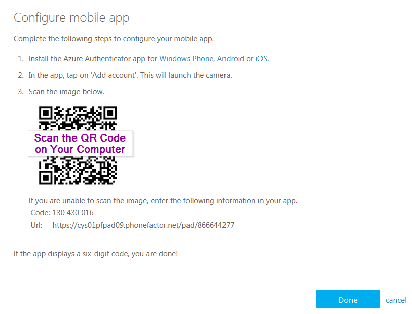 Screenshot of the MFA setup process describing the steps on how to configure the mobile app.