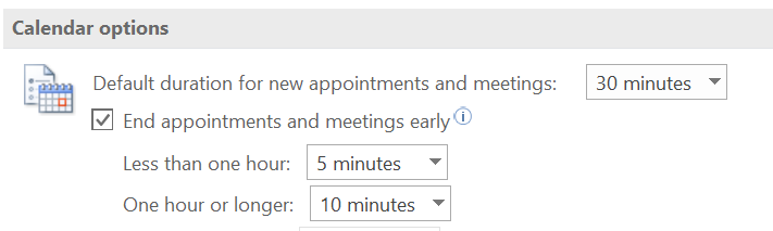 Outlook PC Calendar options settings