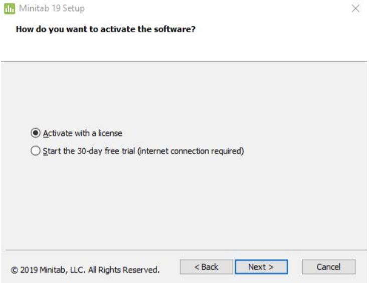 Minitab setup activate with a license screenshot