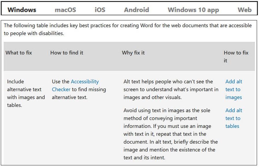Microsoft app table example