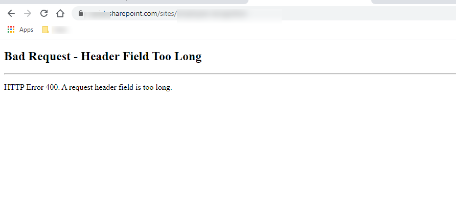 screenshot of the error bad request header too long