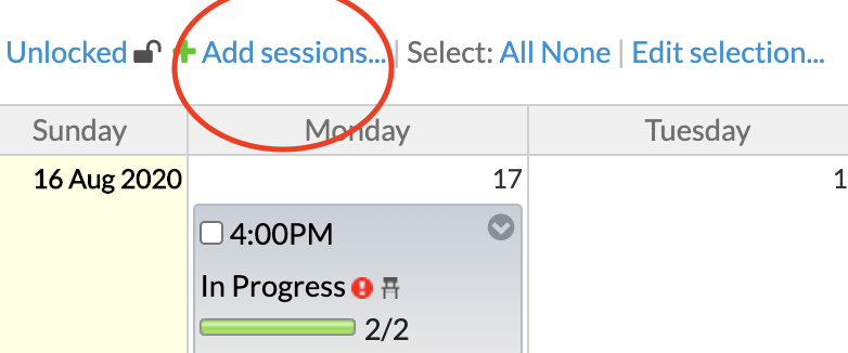 Add sessions