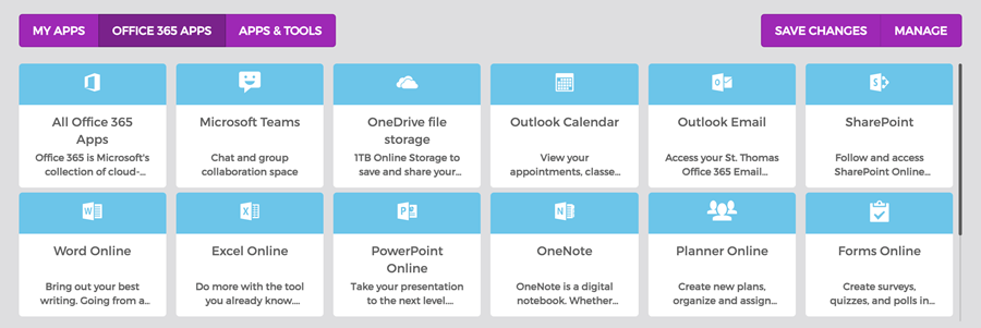 Office 365 Apps Tab in OneStThomas